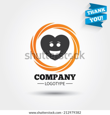 Smile heart face sign icon. Happy smiley with hairstyle chat symbol. Business abstract circle logo. Logotype with Thank you ribbon. Vector - stock vector