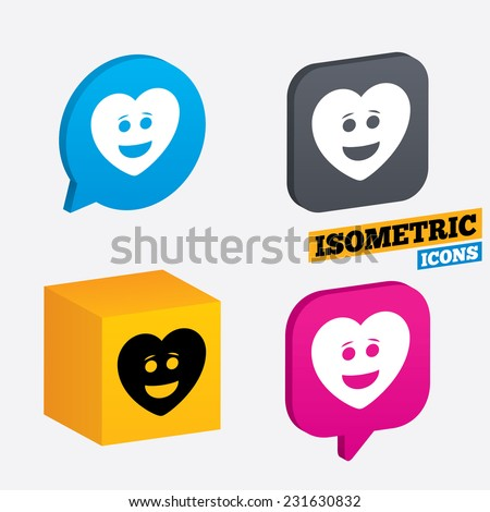 Smile heart face sign icon. Happy smiley with hairstyle chat symbol. Isometric speech bubbles and cube. Rotated icons with edges. Vector - stock vector
