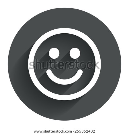 Smile icon Happy face chat symbol Circle flat button with shadow