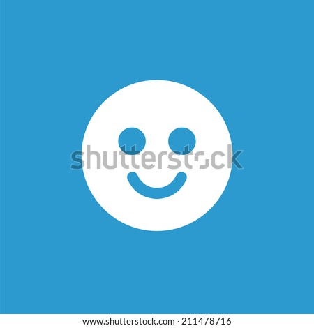 smile icon, isolated, white on the blue background. Exclusive Symbols  - stock vector