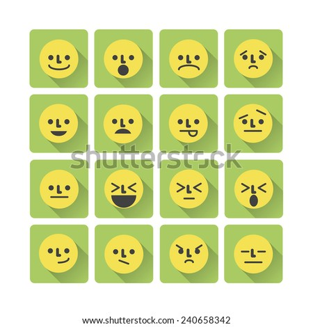 Smile Icons Emotion Color Symbols Stock Vector 240658342 Shutterstock
