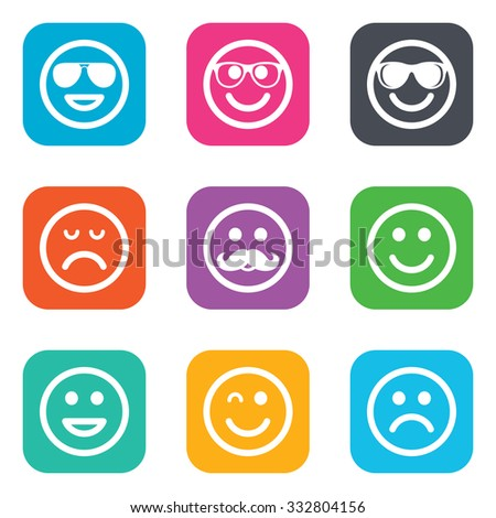 Smile icons. Happy, sad and wink faces signs. Sunglasses, mustache and laughing lol smiley symbols. Flat square buttons. Vector - stock vector