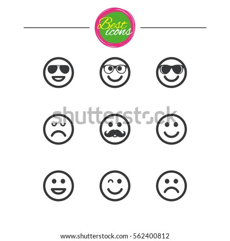 Smile Icons Happy Sad Wink Faces Stock Vector 562400812 Shutterstock