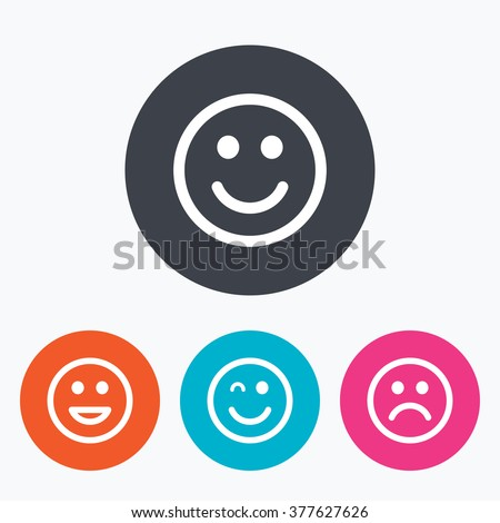 Smile icons. Happy, sad and wink faces symbol. Laughing lol smiley signs. Circle flat buttons with icon. - stock vector