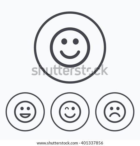 Smile icons. Happy, sad and wink faces symbol. Laughing lol smiley signs. Icons in circles. - stock vector
