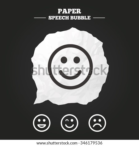 Smile icons. Happy, sad and wink faces symbol. Laughing lol smiley signs. Paper speech bubble with icon. - stock vector