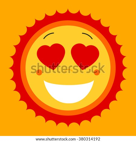 Smile lovely sweet cute sun. Vector cute sun symbol. Love sun emblem. Love smile summer sun. Love icon for web design and print. Mix of happy smile face with white teeth, hearts and warm sun icon. - stock vector
