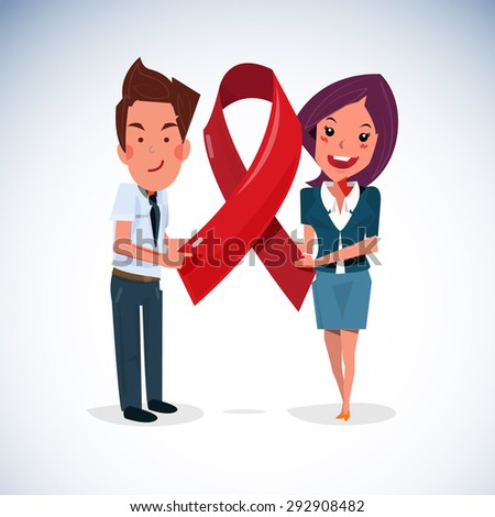 smile man and women holding AIDS ribbon icon - vector illustration - stock vector