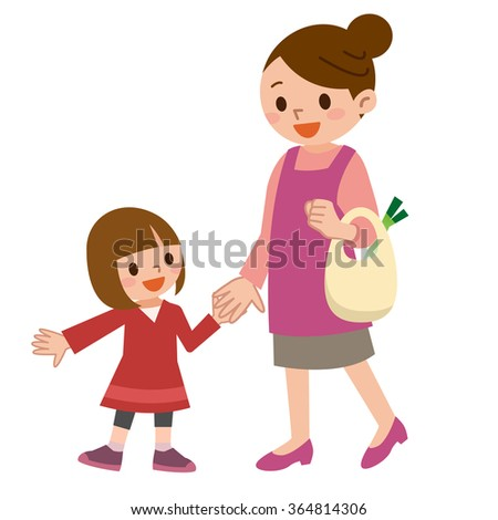 Smile of the parent and child are holding hands - stock vector