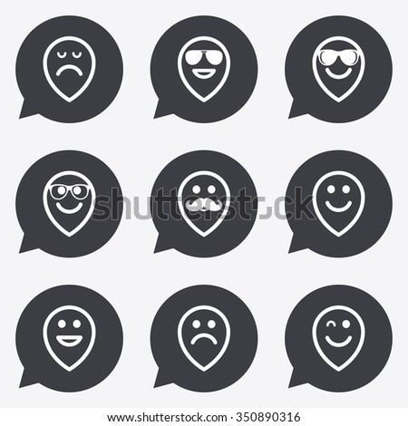 Smile pointers icons. Happy, sad and wink faces signs. Sunglasses, mustache and laughing lol smiley symbols. Flat icons in speech bubble pointers. - stock vector