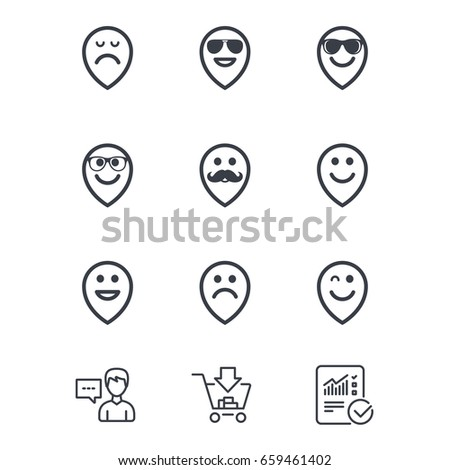Smile Pointers Icons Happy Sad Wink Stock Vector 659461402