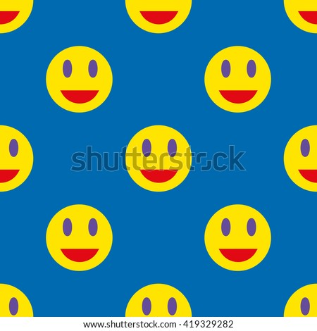 Smile seamless pattern. Template for prints, textile, wrapping and decoration, wallpaper. Vector illustration - stock vector