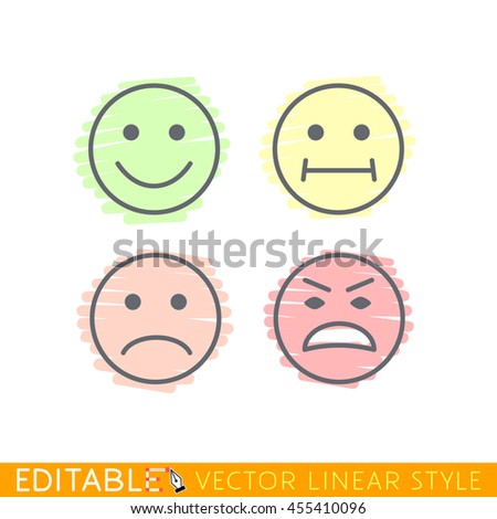 Smile set icon Editable vector graphic in linear style. - stock vector