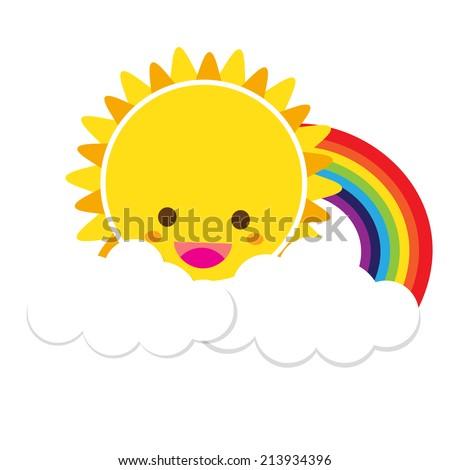Smile sun and rainbow with white cloud, blue sky, vector EPS10 - stock vector