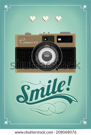 Smile - Vintage Old Camera Typographical Poster - stock vector