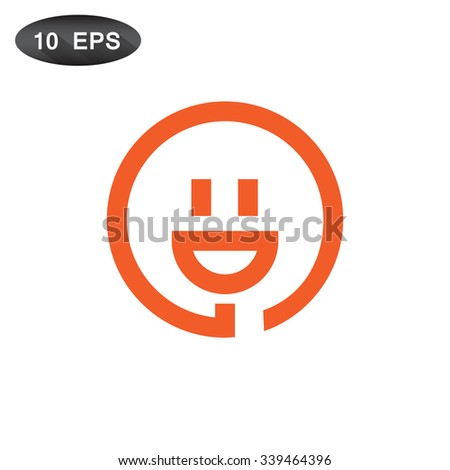 smiley and plug. vector icon - stock vector