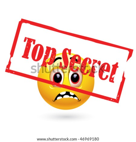 Smiley ball looking at top secret file - stock vector