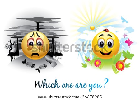 Smiley ball sending message about pollution - stock vector