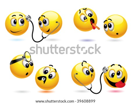 Smiley ball treating another smiley ball - stock vector