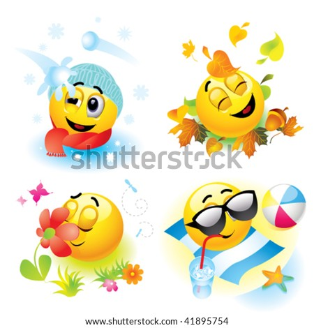 Smiley balls in different season - stock vector