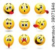 Smiley balls showing funny face - stock photo