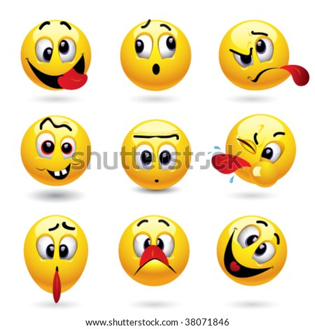 Smiley balls showing funny face - stock vector