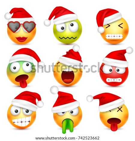 smileyemoticon set yellow face emotions christmas stock vector