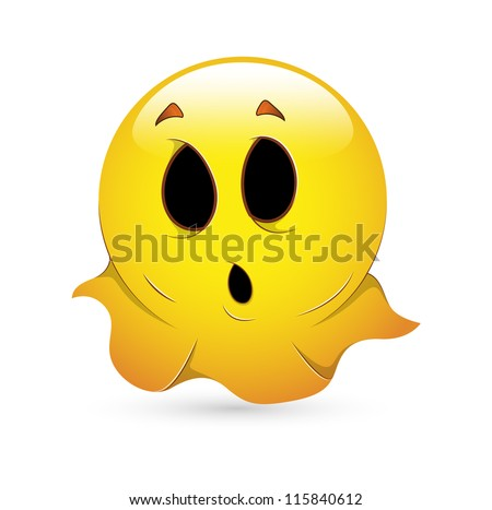 Smiley Emoticons Face Vector - Ghost - stock vector