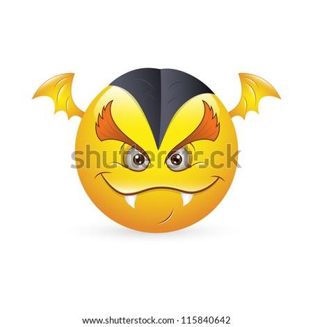 Smiley Emoticons Face Vector - Vampire Expression - stock vector