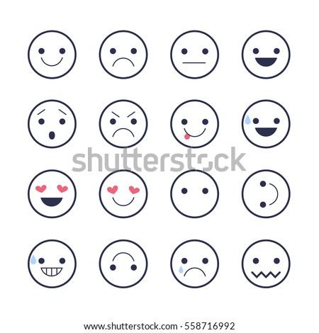 Smiley Emoticons Line Icons Happy Sad Stock Vector 558716992