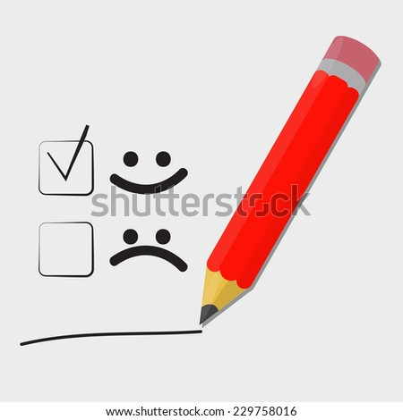 smiley face check mark by pencil. illustration design over a light background - stock vector