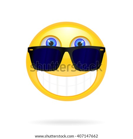 Smiley face with sunglasses. Solar vector illustration. Cool glossy Single Emoticon. Vector - stock vector