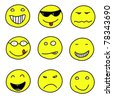Smiley faces - doodle emoticon expressions. Happy, sad and confused balls. Vector version is easily editable. - stock