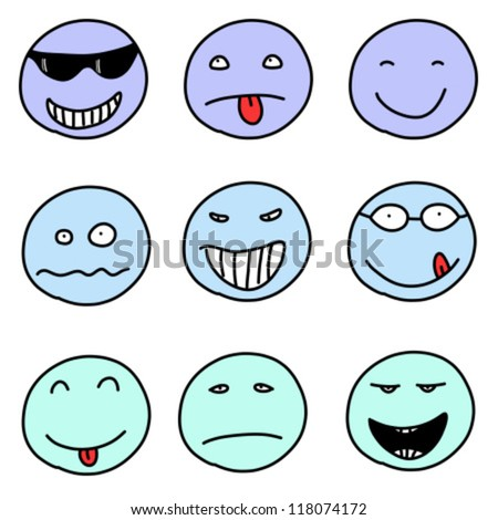 Stock Images similar to ID 78343690 - smiley faces doodle ...