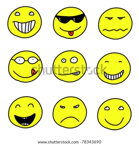 Smiley faces - doodle emoticon expressions. Happy, sad and confused balls. Vector version is easily editable. - stock vector