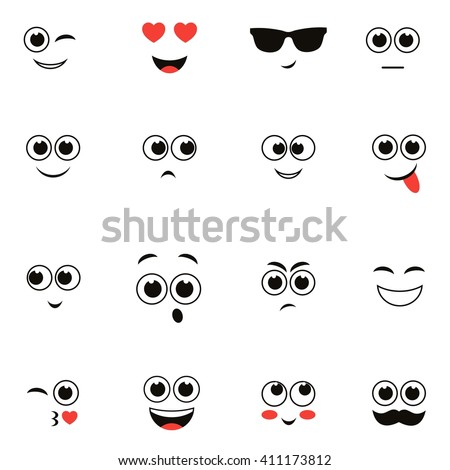 smiley faces isolated on white - stock vector