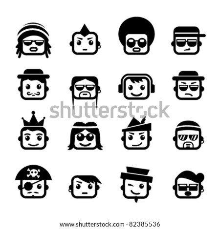 Smiley faces. men characters - stock vector