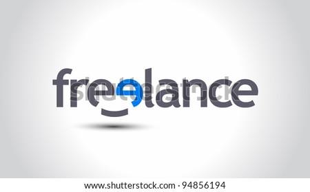 Smiley Freelance word, vector - stock vector
