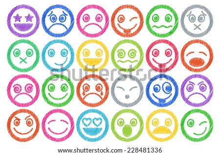 Smiley Icons colored Pen shading effect set - stock vector