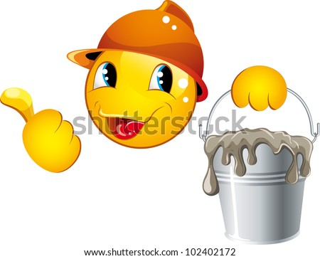 Smiley icons in a helmet - stock vector