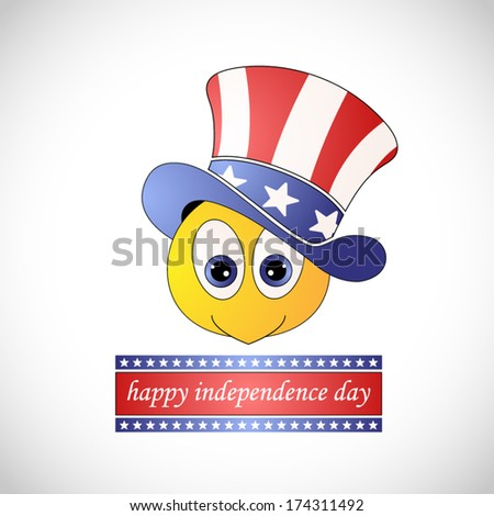 smiley or emoticon with american hat for happy american independence day greeting - stock vector