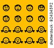 smiley symbols of female and male characters - stock