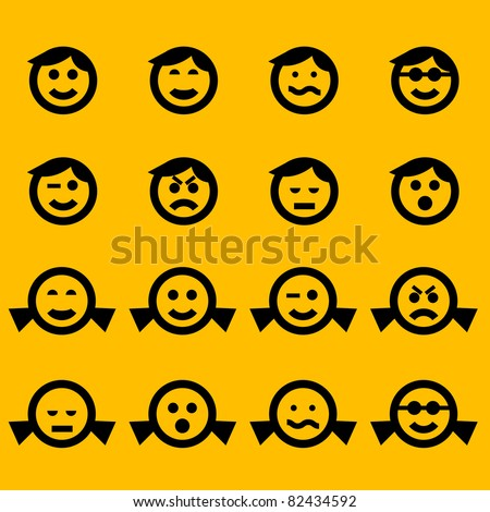 smiley symbols of female and male characters - stock vector