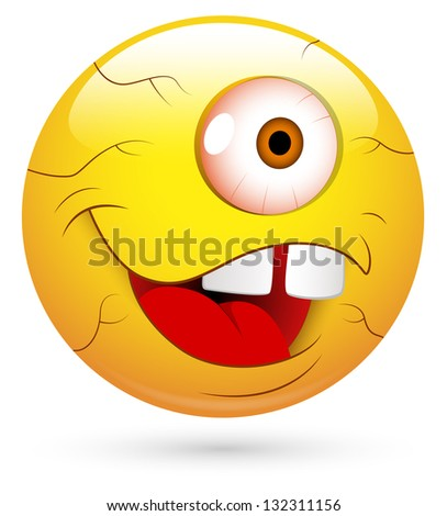 Smiley Vector Illustration - One Eyed Man Face - stock vector