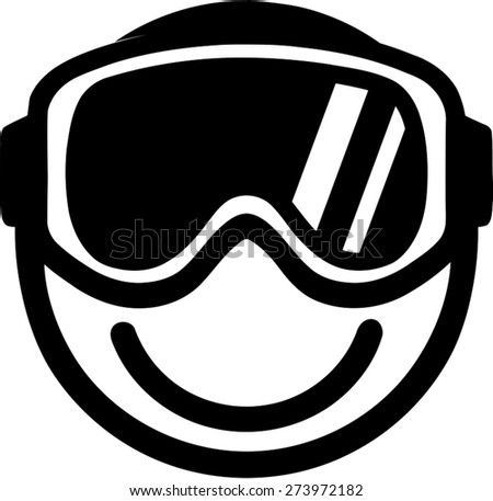 Smiley with Ski Goggles - stock vector