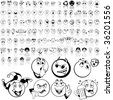 Smilies set of black sketch. Part 1. Isolated groups and layers. - stock vector