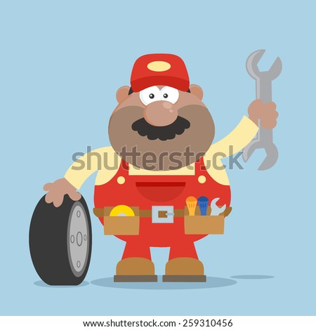 Smiling African American Mechanic Cartoon Character With Tire And Huge Wrench Flat Syle. Vector Illustration Isolated On White - stock vector