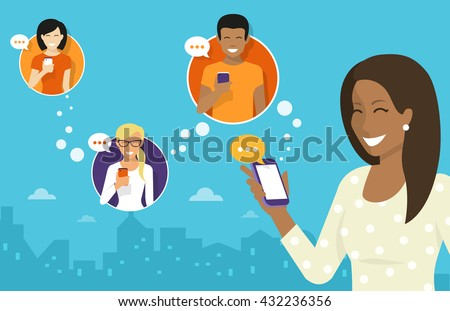 Smiling african woman holds the smartphone in her hand and sending messages to friend via messenger chat app. Flat illustration of instant texting and data sharing with friend via messenger mobile app - stock vector
