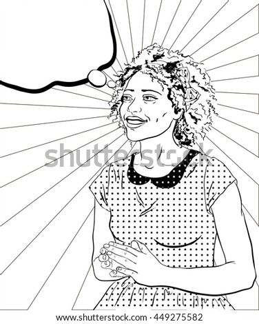 smiling African woman in a dress on a strips background in the style of pop art coloring book