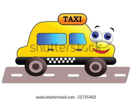 Smiling and friendly taxi  - vector illustration.
